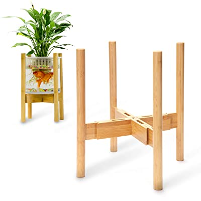 """RainbleLand - Indoor Plant Stand - Adjustable Tall Plant Stand - Indoor Planter Stand - Mid Century Modern Plant Stands Indoor- Corner Plant Holder for Pot- Fits 8"""" To 12"""" Pot Stand (Pot Not Included) : Garden & Outdoor"""