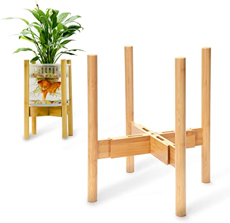 Bamboo Plant Stand for House Mid Century Modern Plant Stand Fits Small /& Large Pots - Tall Plant Stands Indoor Planter Stand Not Include Pot Adjustable Indoor Plant Stand 8 to 12 inches