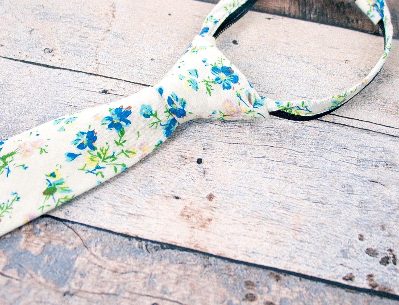 Spring Notion Boys Cotton Floral Skinny Zipper Tie
