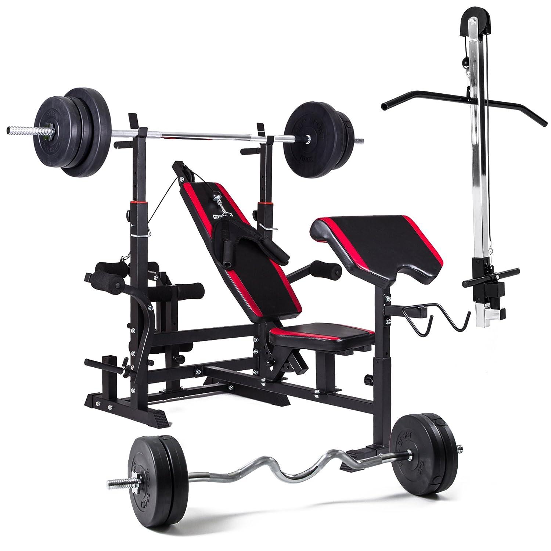 Hop-Sport Multifunktions Hantelbank 1075 mit Latzugturm, Gewichten 60kg bis 150kg und Lang- und Curlhantelstange