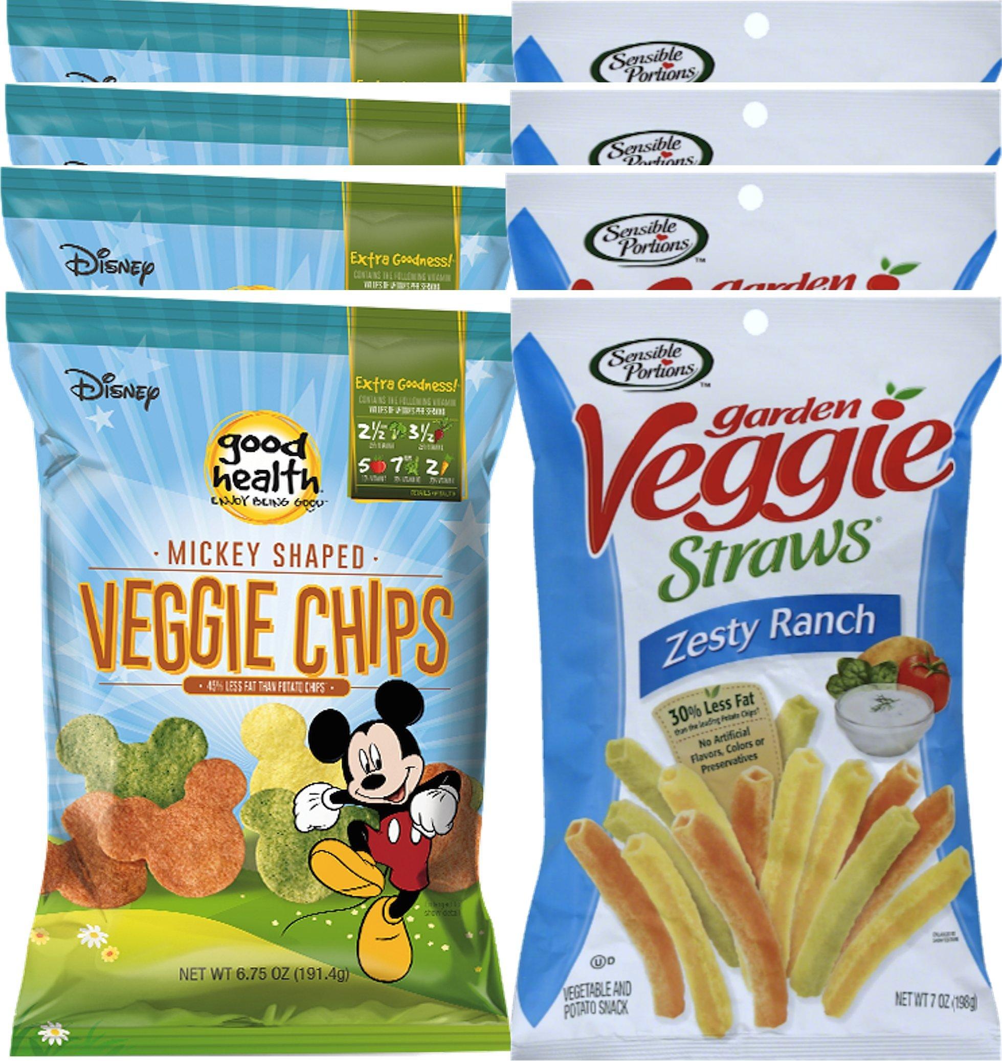 Sensible Portions Zesty Ranch Garden Veggie Straws, 7 oz & Disney Mickey Mouse Shaped Veggie Chips Children's Healthy Snacks 6.75 Oz (8)