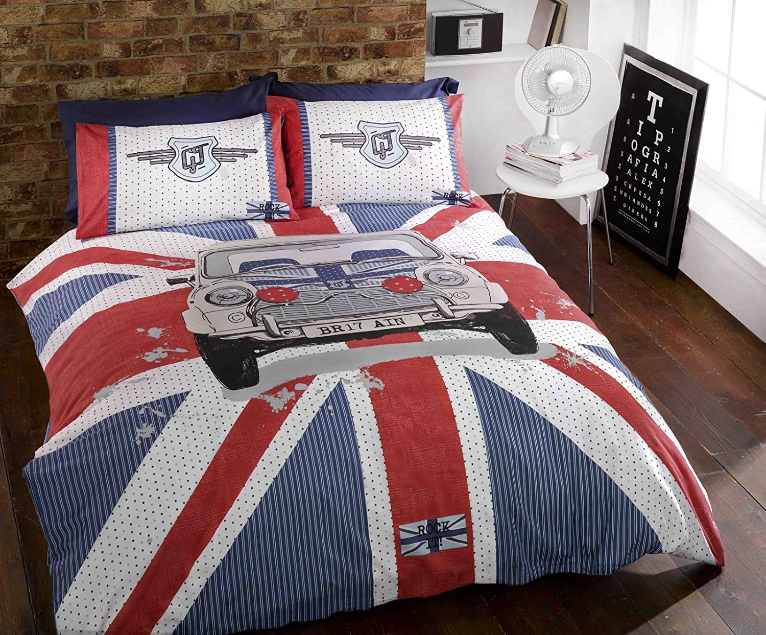 Home amp garden gt home improvement gt building amp hardware gt wallpaper - Mini Gt Car Union Jack Stripe Blue Red White Grey Duvet Cover Quilt Bedding Set Single Bed Size Hallways Amazon Co Uk Kitchen Home