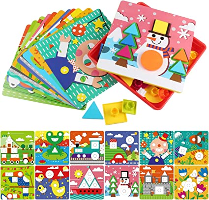 AMOSTING Button Art Color Matching Mosaic Pegboard Early Learning Educational To