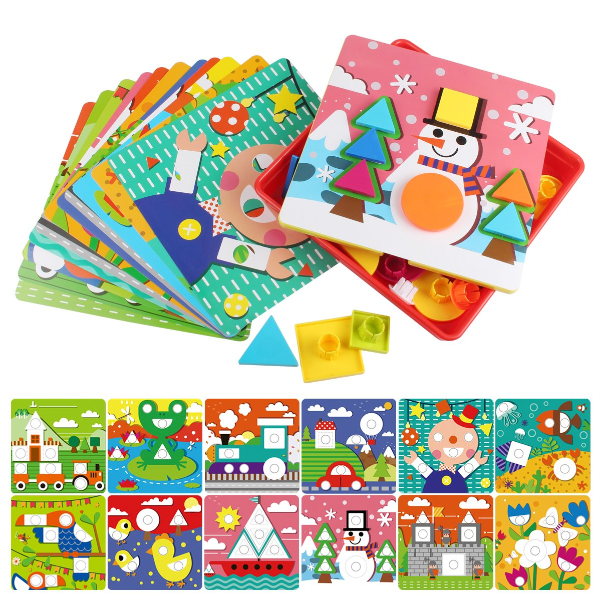 AMOSTING Early Learning Educational Toys Button Art for Toddler, Color & Geometry Shape Matching Mosaic Puzzle Peg Board Games for Preschool Kids