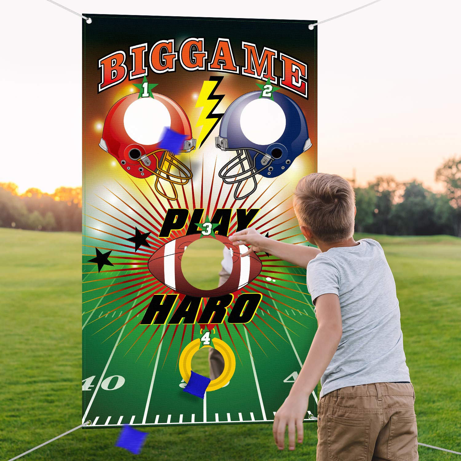 Football Toss Game with 3 Bean Bags, Indoor and Outdoor Bean Bag Toss Game for Children and Adults, Football Theme Party Decorations Supplies by Blulu