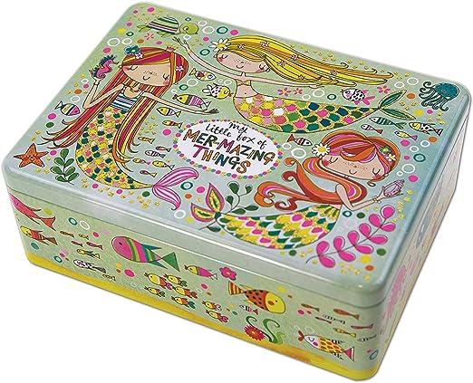Lata decorativa, caja de forma rectangular, con diseño de sirena ...