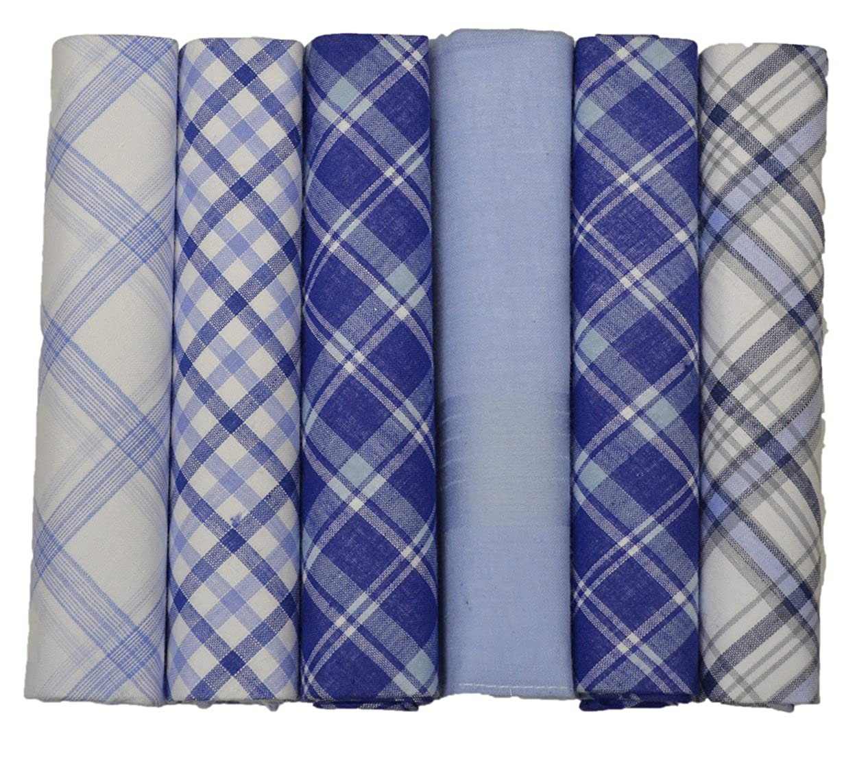 6 Pack Mens Boxed 100% Cotton Checked Handerkerchiefs