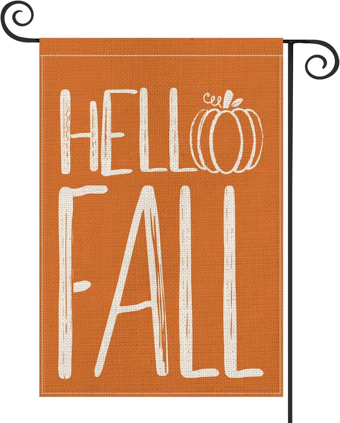 AVOIN Hello Fall Pumpkin Garden Flag Vertical Double Sided, Autumn Yard Outdoor Decoration 12.5 x 18 Inch