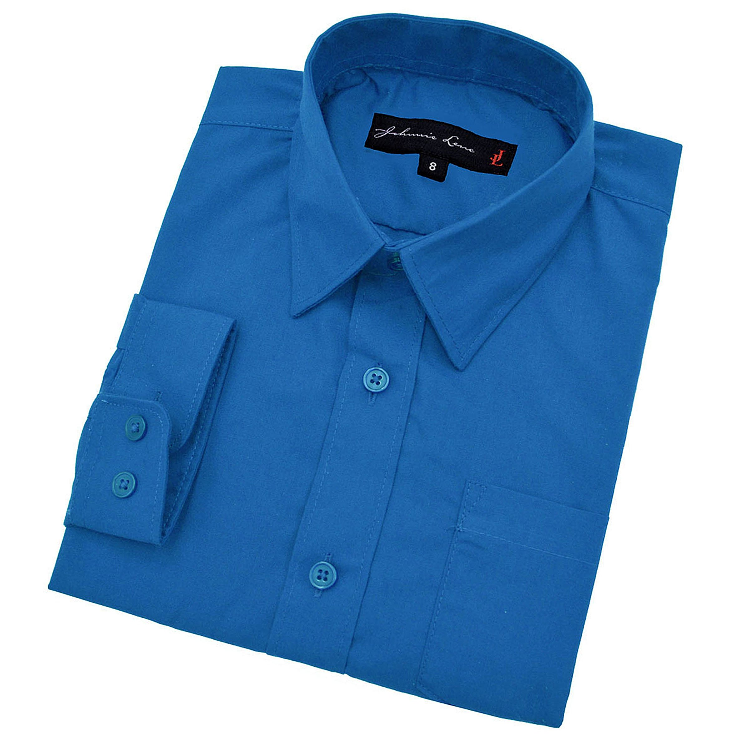 Johnnie Lene Baby Boy's Long Sleeves Solid Dress Shirt #JL32 (12 Months, Vivid Blue)