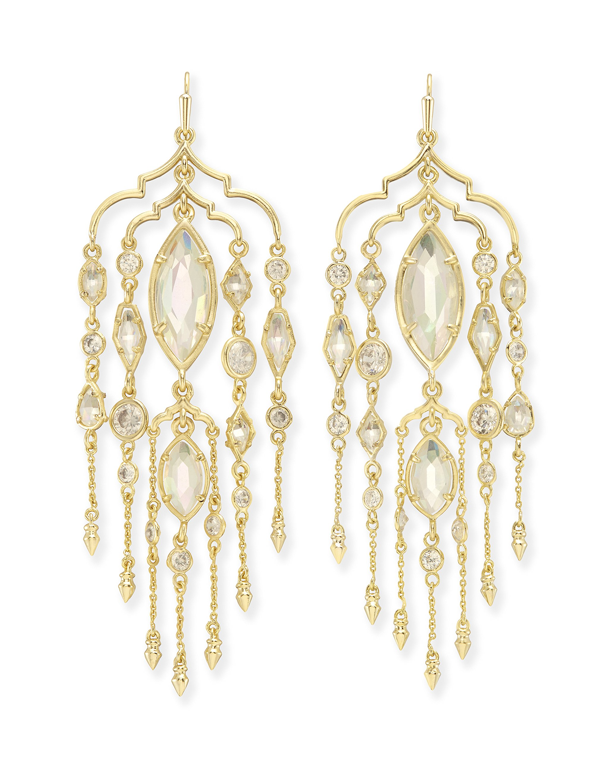 Kendra Scott Emma Shoulder Duster Earrings in Gold Plated, Iridescent Glass and Cubic Zirconia