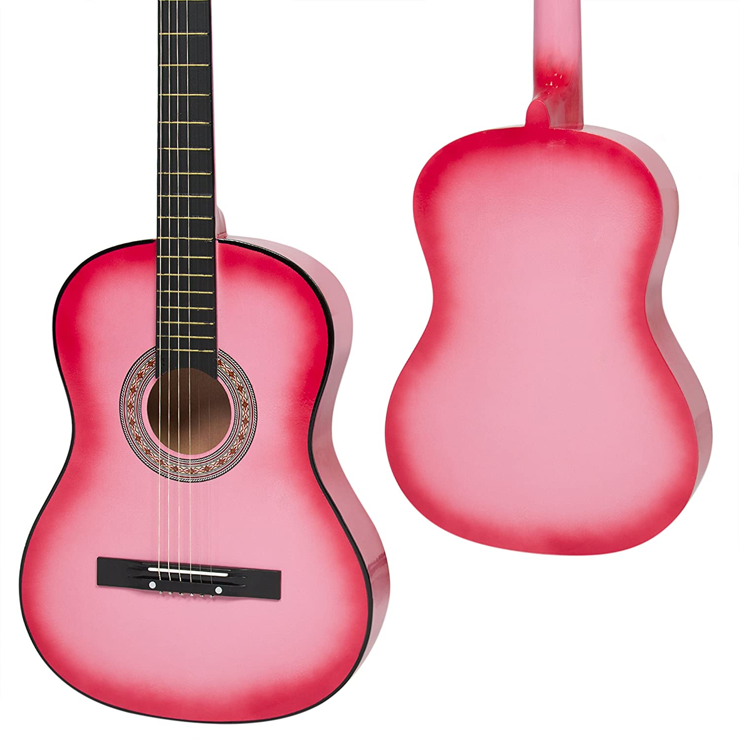 Amazon Best Choice Products Beginners 38 Acoustic Guitar With Case Strap Digital E Tuner And Pick Pink Musical Instruments