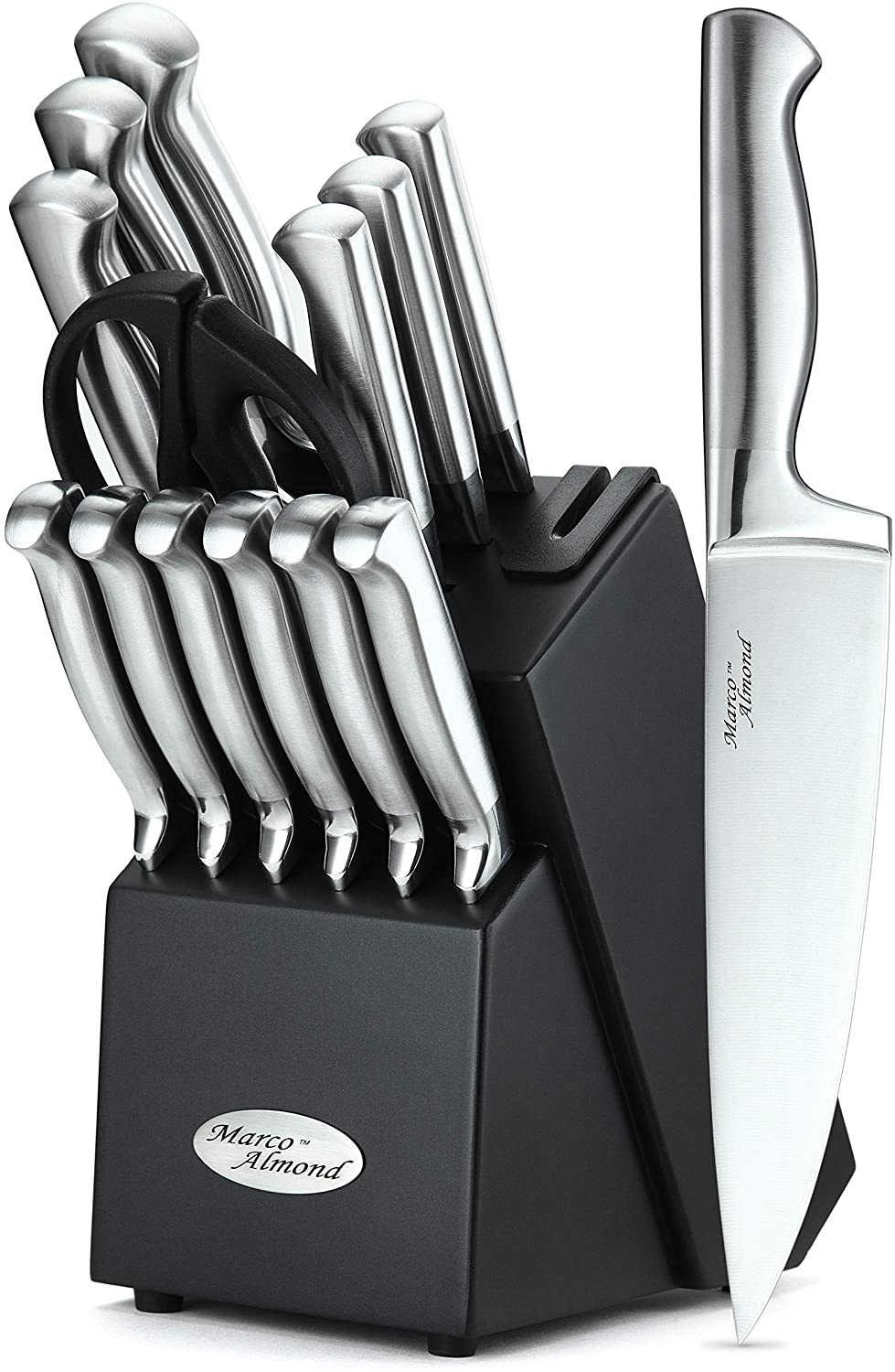 Marco Almond KYA28 Knives Set, 14 Pieces Japanese High Carbon Stainless Steel Kitchen Cutlery Knife Set with Hardwood Block, Hollow Handle Self Sharpening Knife Block Set, Black, Best Gift
