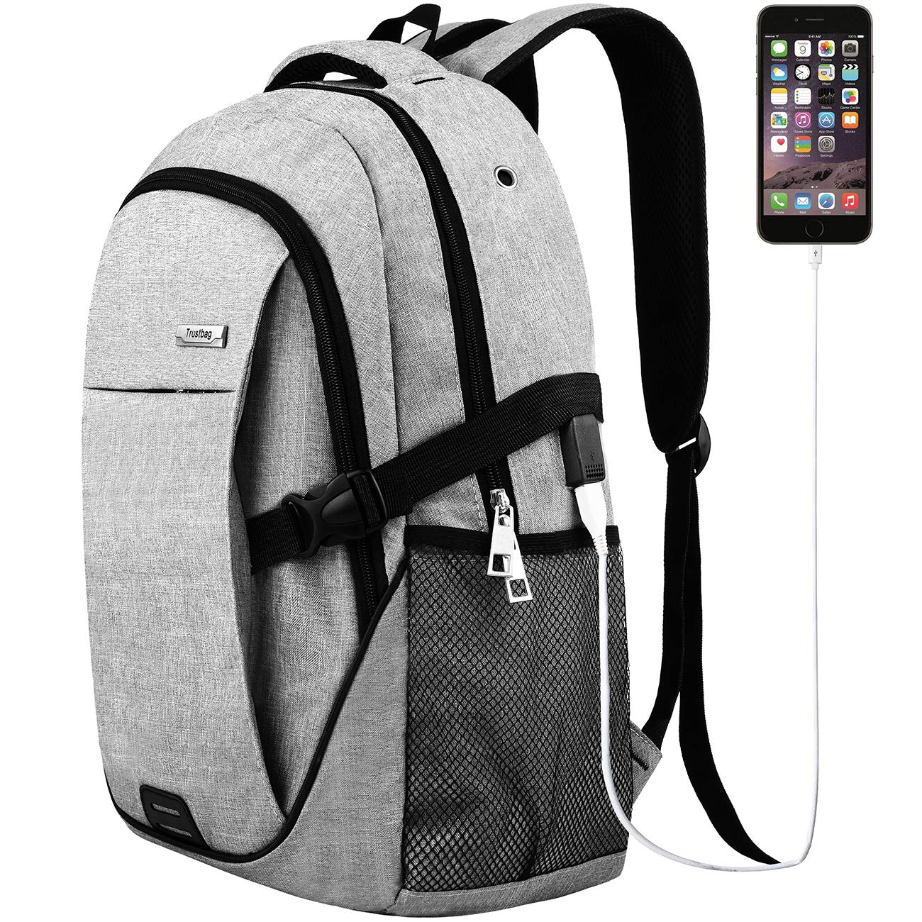 Trustbag TR013008 Laptop Backpack for Men Women, Grey