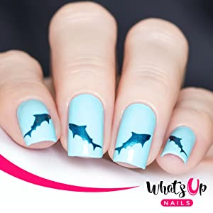 Whats Up Nails - Shark Vinyl Stencils for Nail Art Design (2 Sheets, 40 Stencils Total)