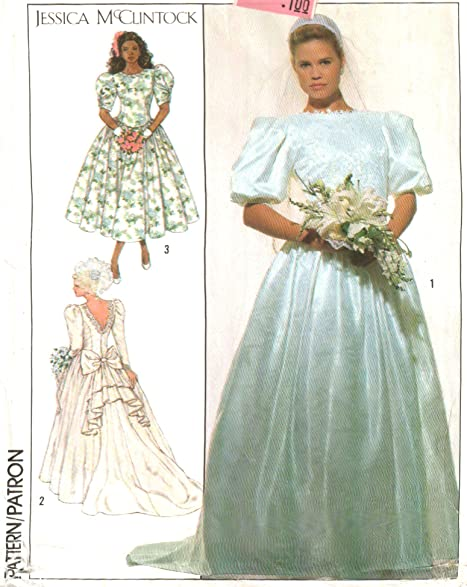 Amazon jessica mcclintock wedding dress simplicity vintage jessica mcclintock wedding dress simplicity vintage 1980s sewing pattern 9050 size 6 junglespirit Image collections
