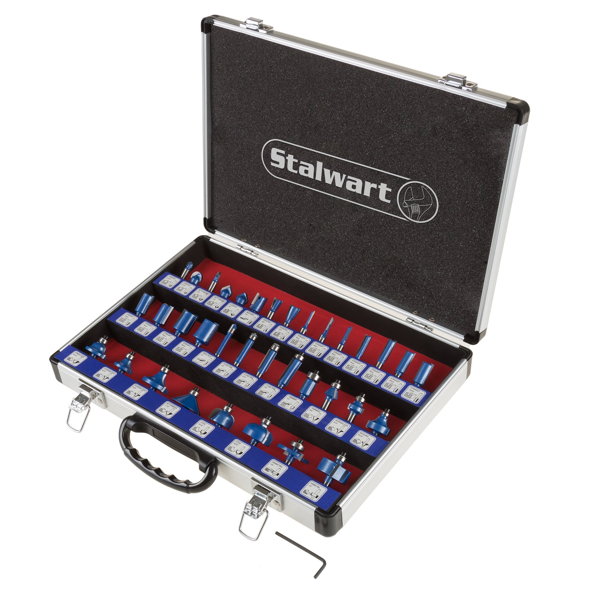 """Router Bit Set- 35 Piece Kit with ¼"""" Shank and Aluminum Storage Case By Stalwart (Woodworking Tools for Home Improvement and DIY)"""