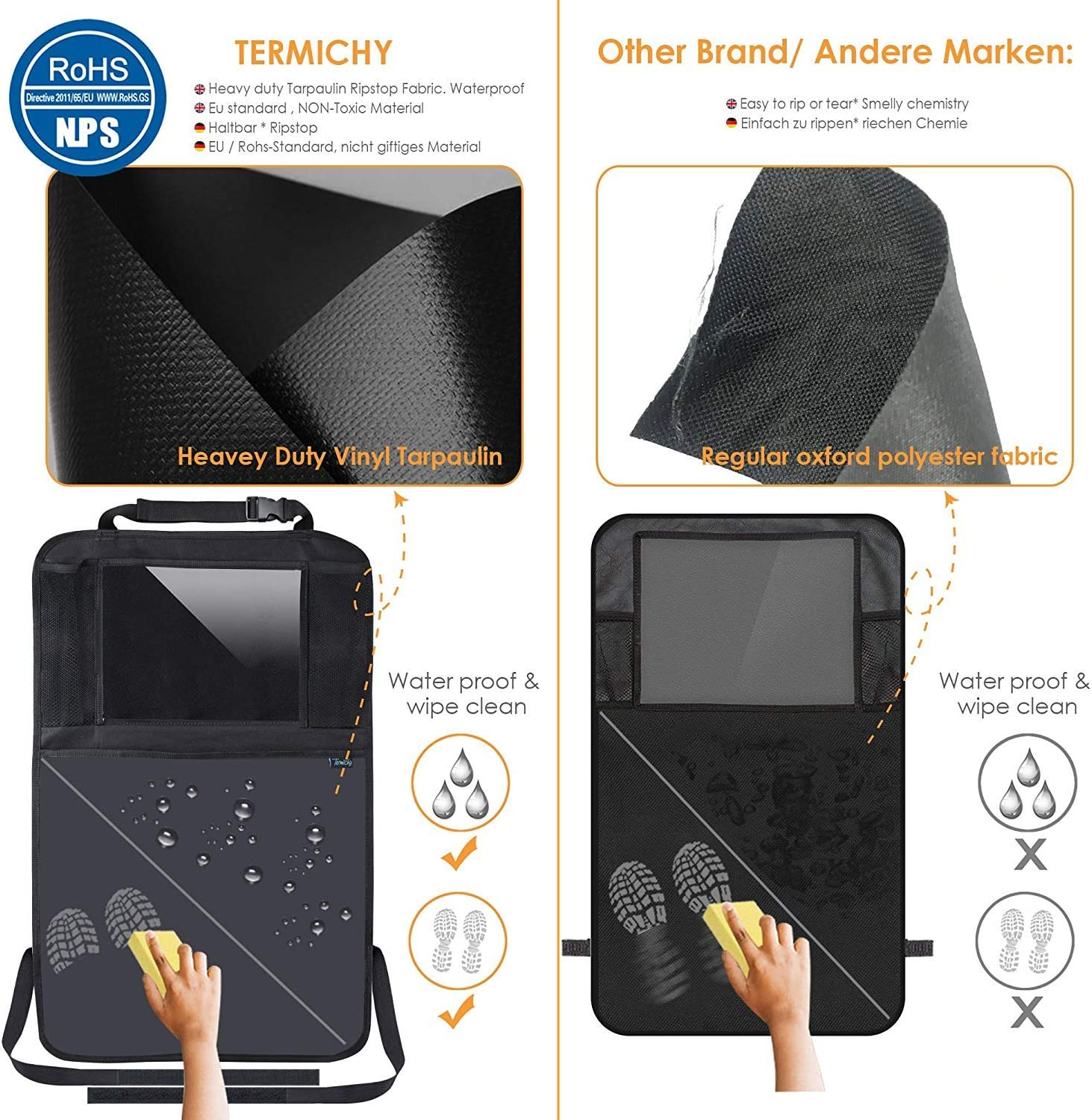 By Sodee Kick Mats Organizer for Car Seat Back Protector with 10.1 Clear Tablet Holder for Kids Toys Travel Accessories