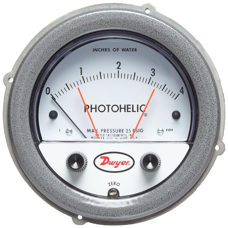 Range 0-10WC Range 0-10WC Dwyer Instruments A3010 Dwyer Photohelic Series A3000 Pressure Switch//Gauge