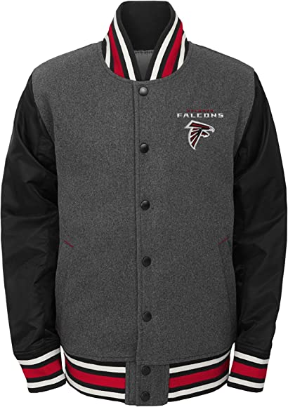 timeless design 04f1e 343f4 NFL Big Boys' Letterman Varsity Jacket, Charcoal Grey, Youth Small (8)