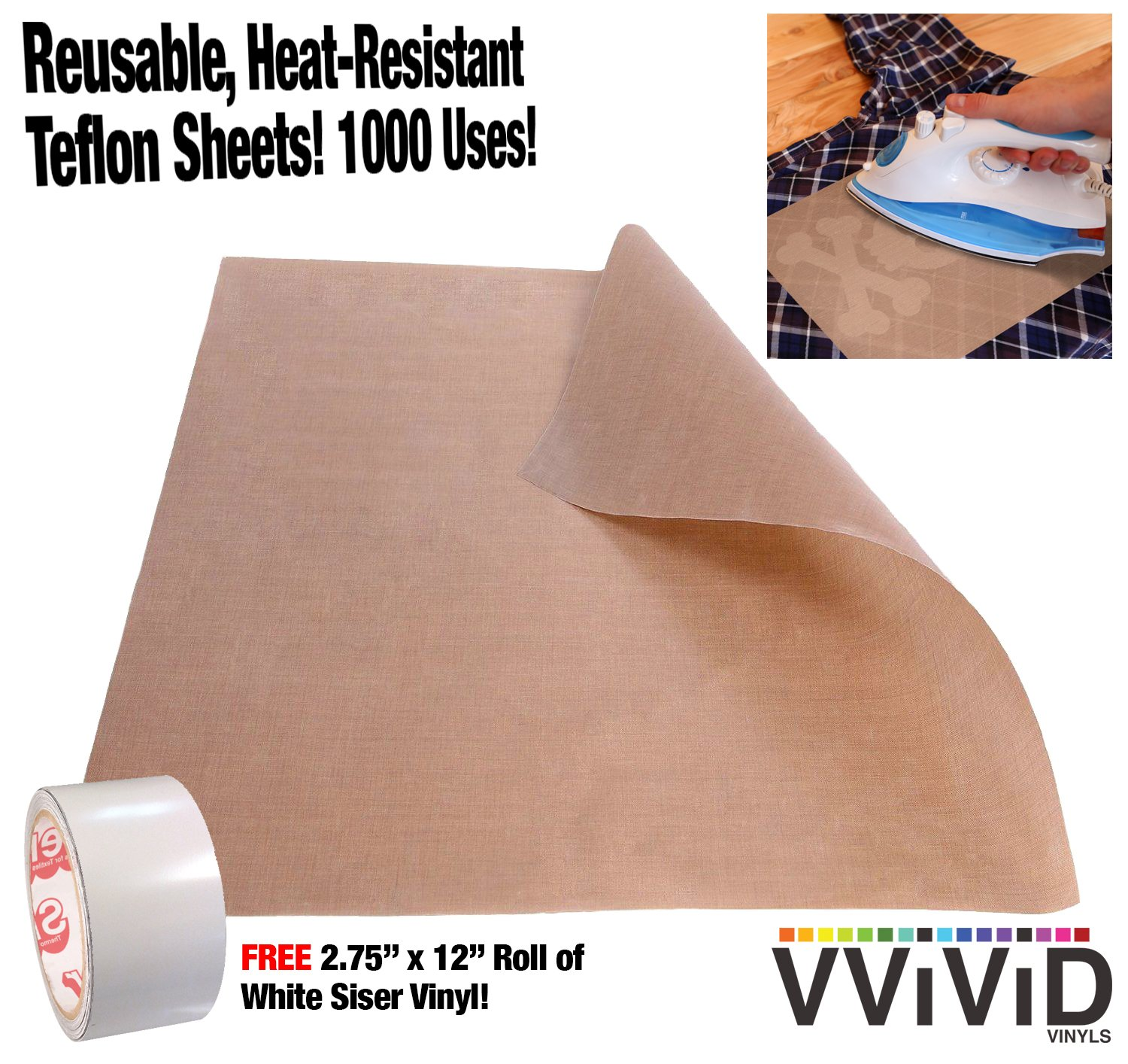 VViViD Teflon Coated Non-Stick Fibreglass Heat Transfer Craft and Hobby Sheets Including 2.75'' x 12'' Sample Roll of White HTV Vinyl (16'' x 180'' (15ft) Bulk Roll) by VViViD