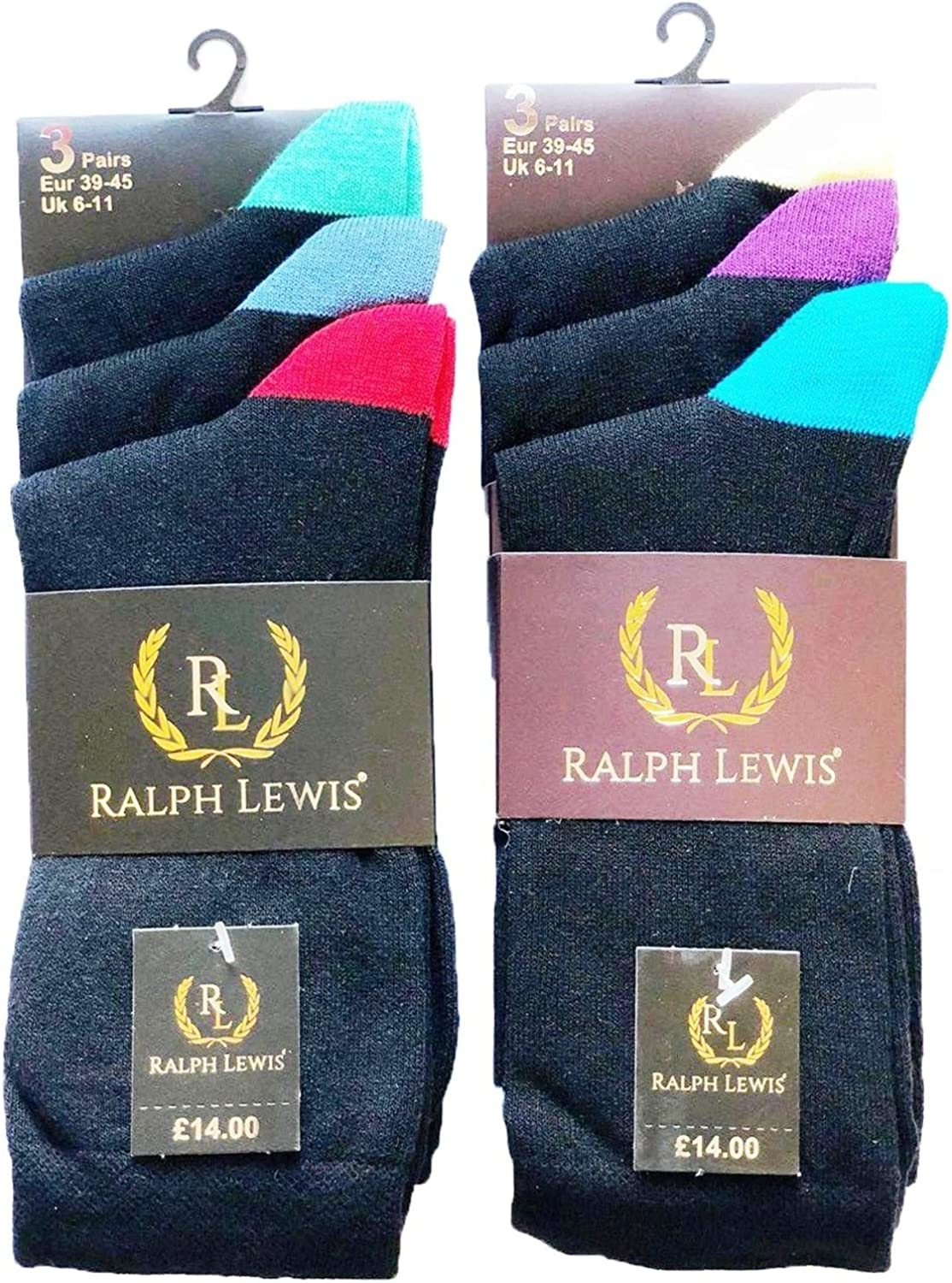 UK SIZE 6-11 3 PAIRS OF RALPH LEWIS MENS BLACK FORMAL SOFT COTTON RICH SOCKS