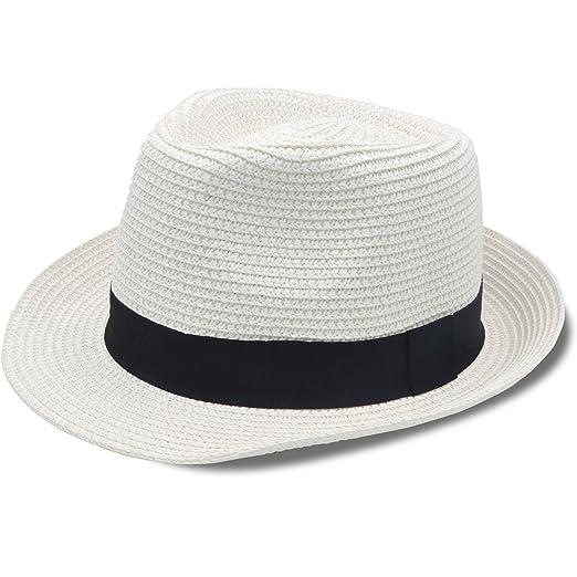 fb0768f00 Stynice Panama Hat Foldable Fedora Hats for Women & Men Short Brim Straw  Hats Beach Sun Hat for Summer Vacation Jazz 55-58cm