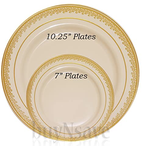 buyNsave Cream with Gold Heavyweight Plastic Elegant Disposable Plates Wedding Party Elegant Dinnerware Prestige  sc 1 st  Amazon.com & buyNsave Cream with Gold Heavyweight Plastic Elegant Disposable Plates Wedding Party Elegant Dinnerware Prestige Collection (35 7
