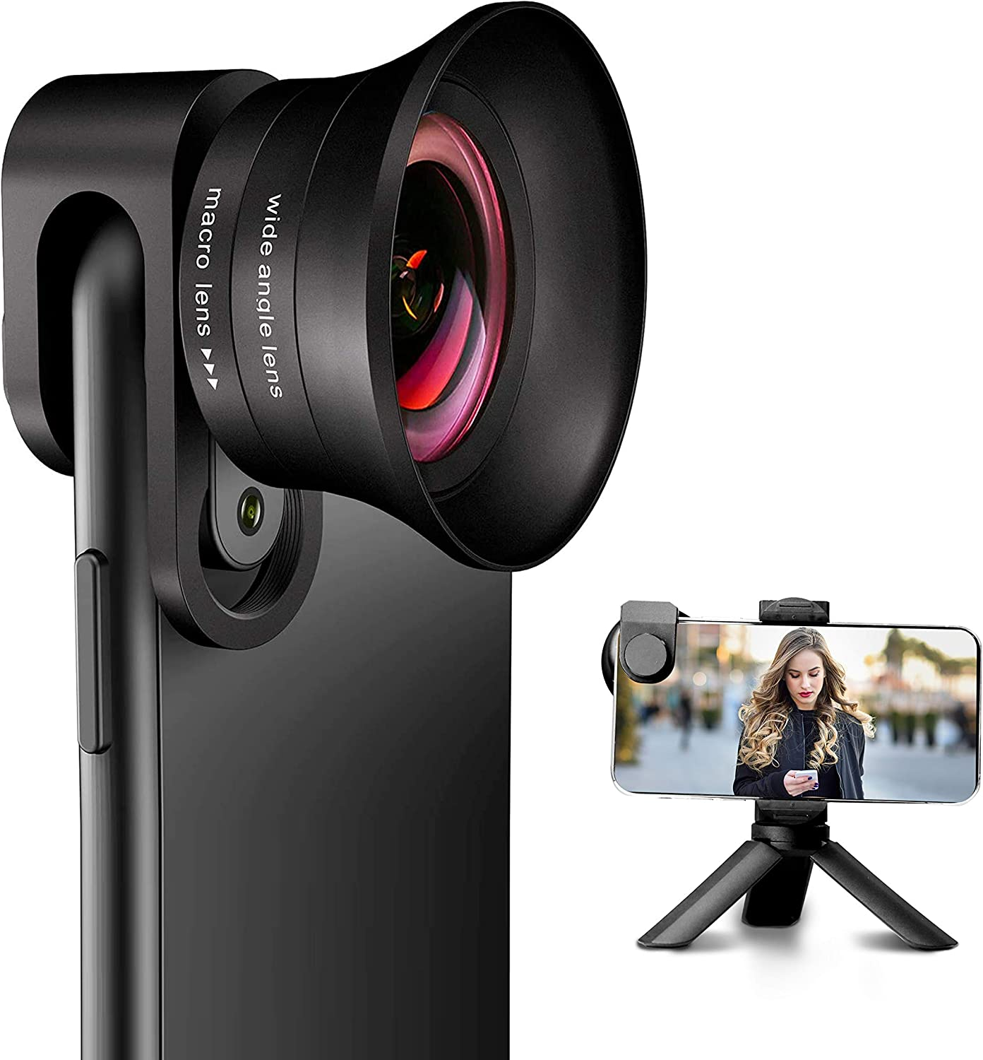 Amazon Com Phone Camera Lens Pro With Tripod Angfly 4k Hd 2 In 1 Aspherical Wide Angle Lens Super Macro Lens Clip On Cell Phone Camera Lenses Compatible With Iphone Android Samsung Mobile Phones And