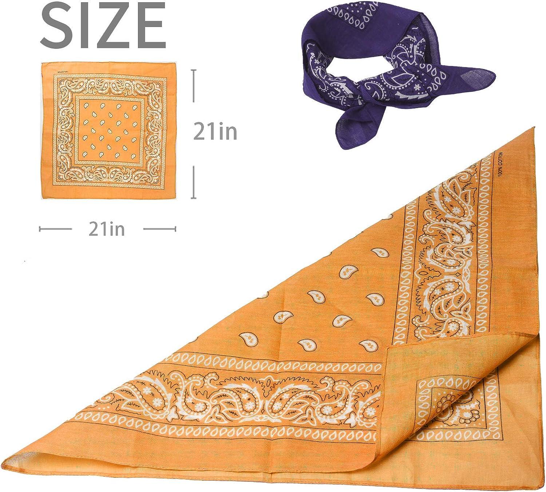 MILEILUOYUE Bandanas paisley print cotton novelty bandana scarf (Black White Red Golden,Beige,Dark gray, 21in21in): Clothing