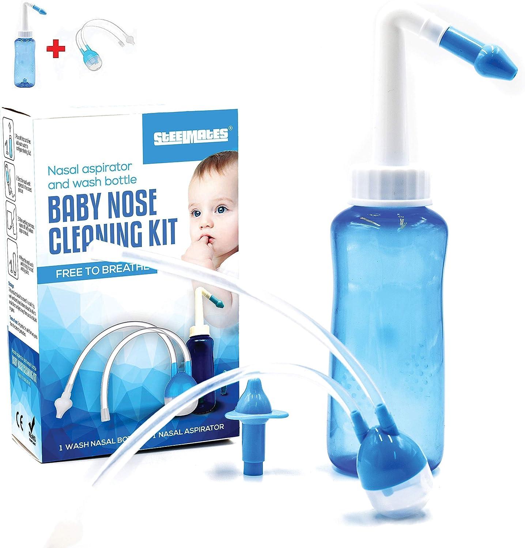 STEELMATES | Kit De Limpiador De Nariz Para Bebé 2 Para 1 | Ventosa De Nariz y Bote Para Botella De Lavado de 300 ml, Aspirador Nasal Y Irrigador Nasal Neti Pot Aspirador Nasal Para Bebé