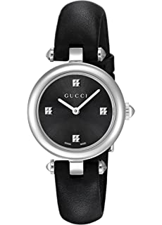 829428616ad Gucci Swiss Quartz Stainless Steel and Leather Dress Black Women s Watch(Model   YA141506)