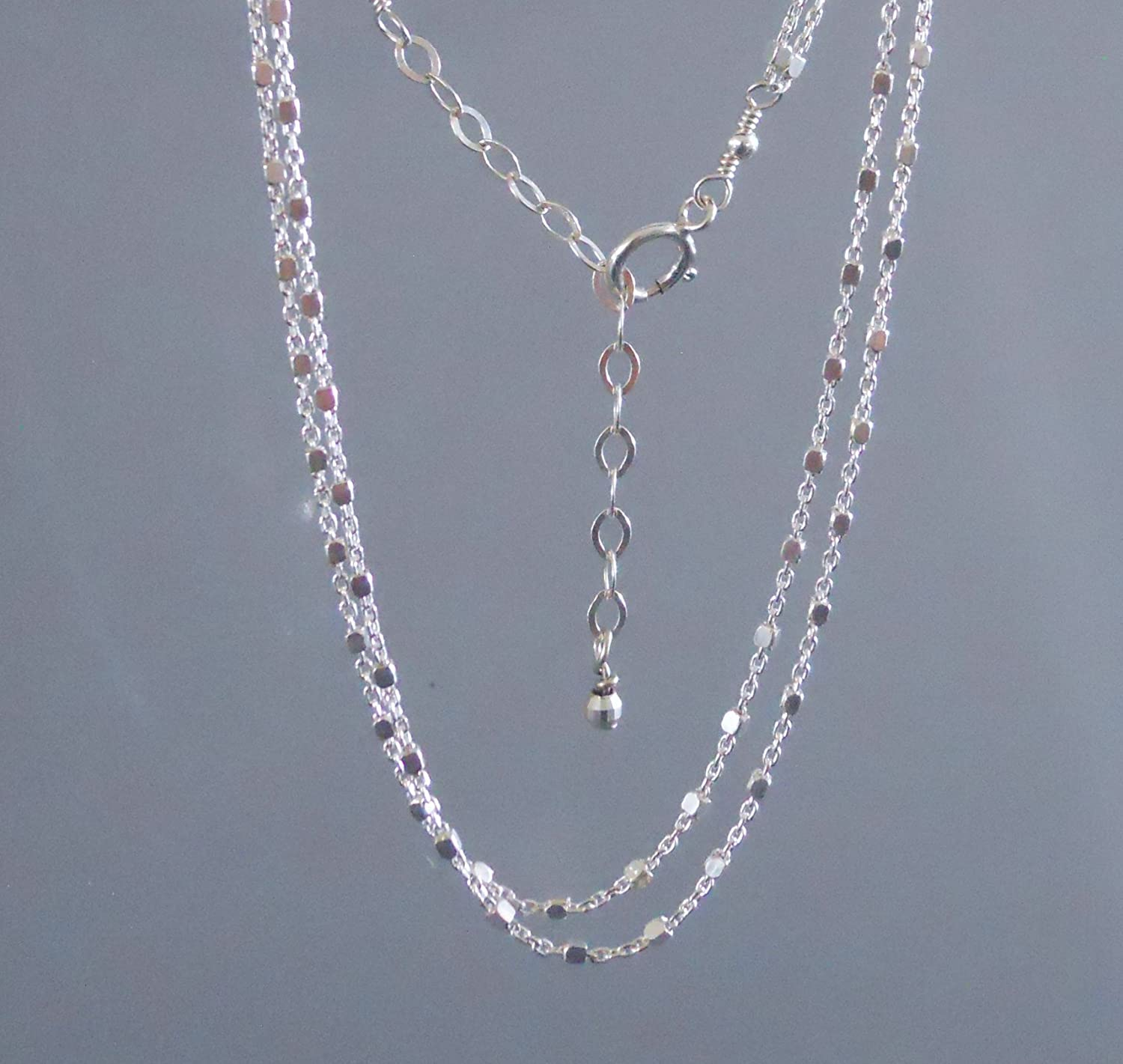 58900bd25 ... Handmade Sterling Silver Multi Stranded Chain Anklet - 9 + 1.5 Extender  -Delicate Double Layered ...