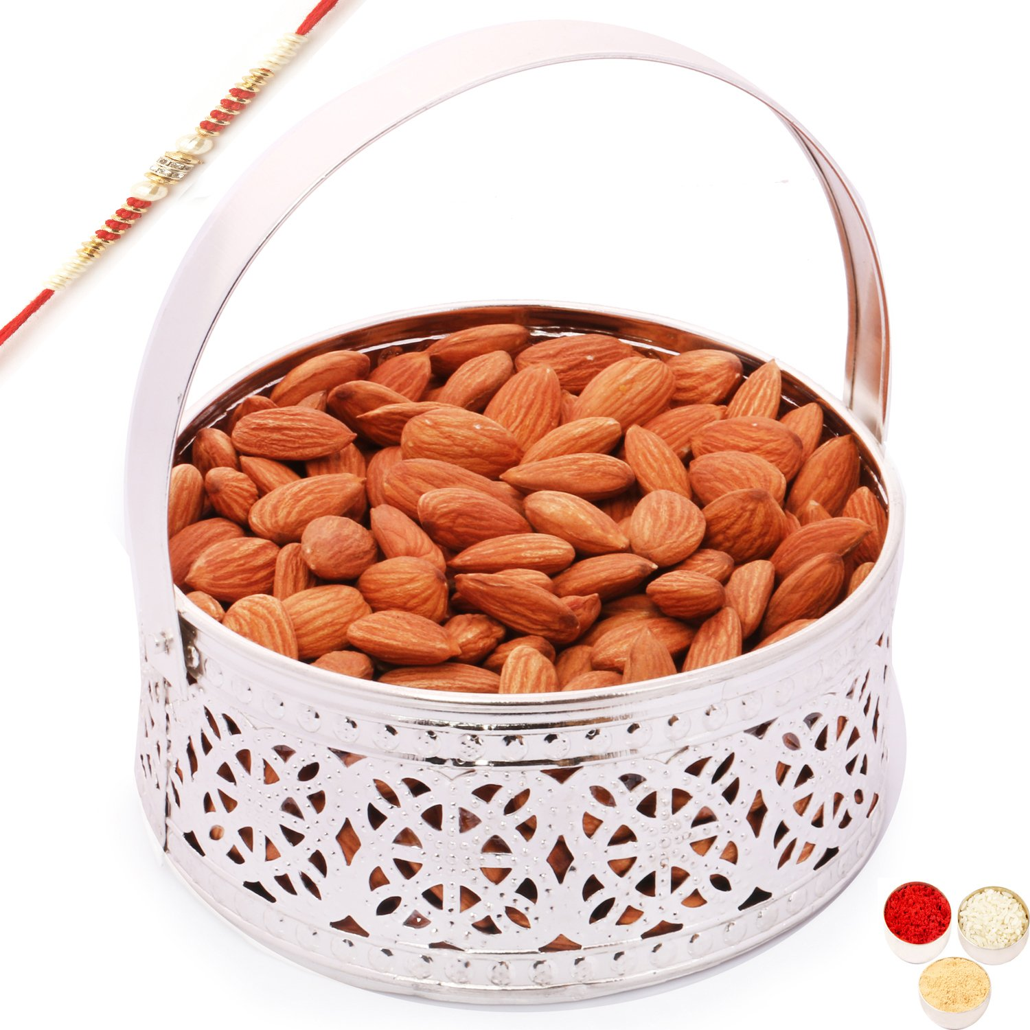Ghasitaram Gifts Rakhi Gifts For Brother Rakhi Dryfruits Rakhi Dry fruits Hamper - Silver Small Basket with with Red Pearl Rakhi and Almonds by Ghasitaram Gifts (Image #1)