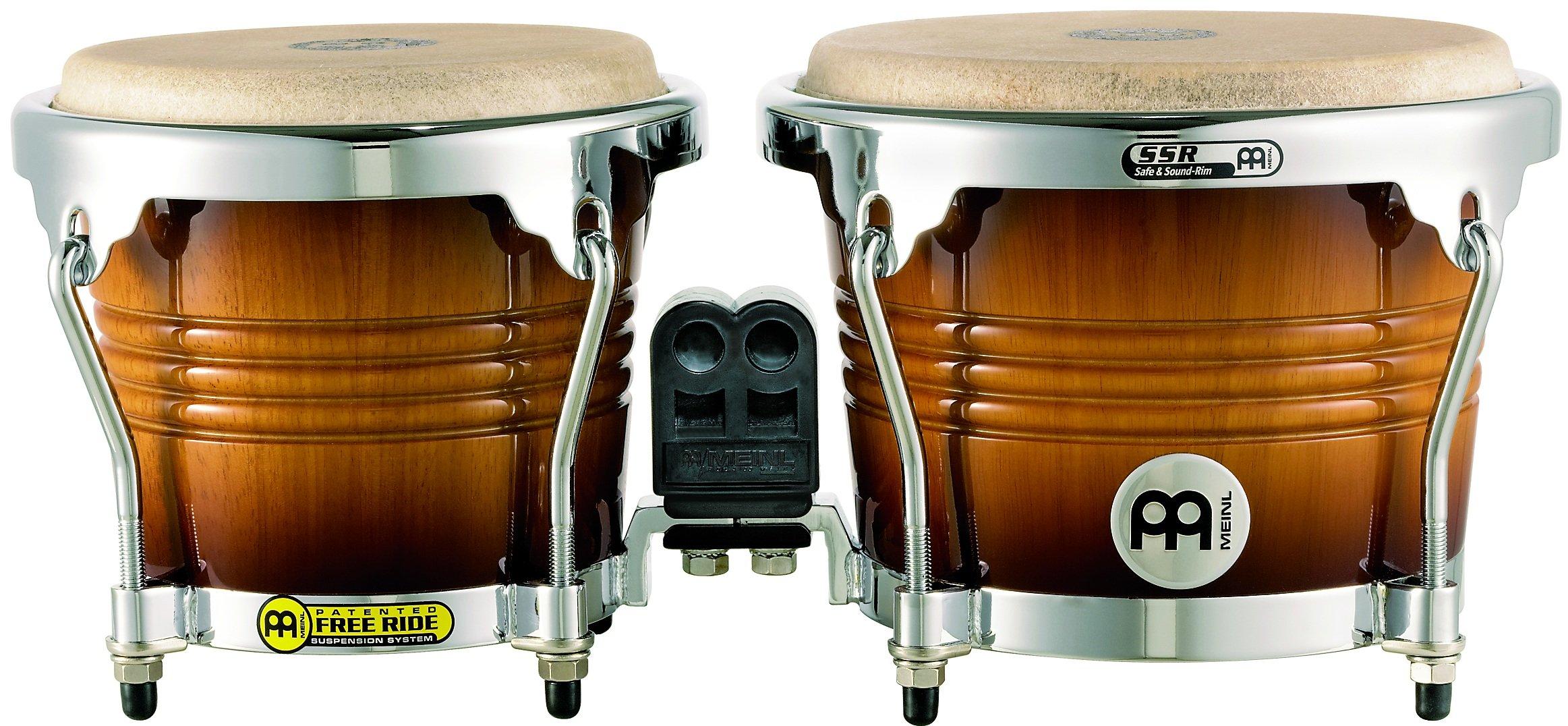 Meinl Percussion FWB200GAB Free Ride Series Wood Bongos, Gold Amber Sunburst Finish by Meinl Percussion