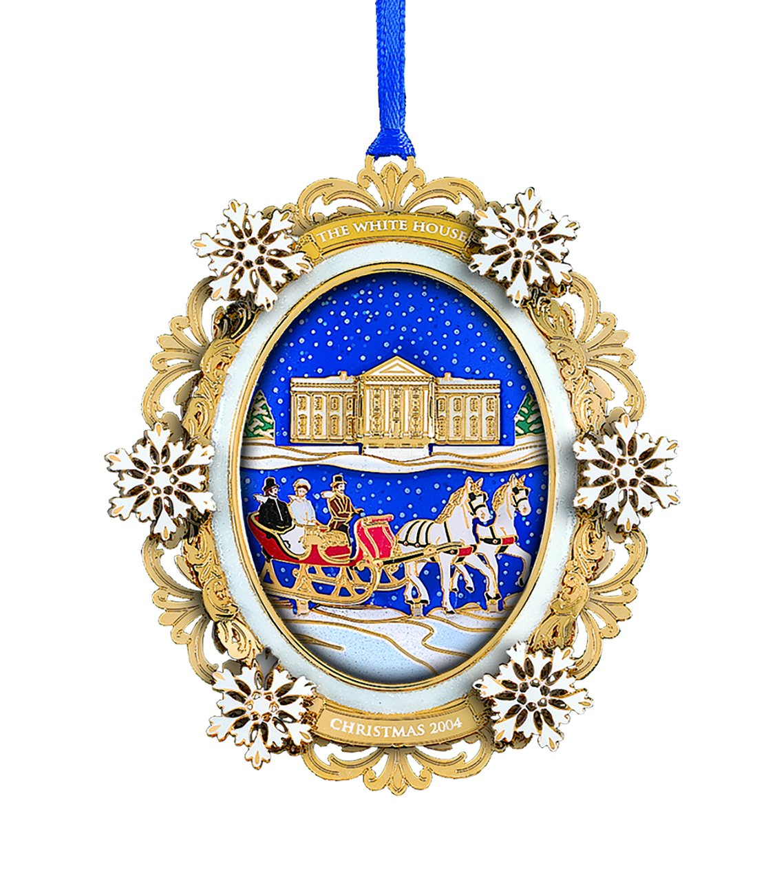 2004 White House Christmas Ornament, A First Family's Sleigh Ride