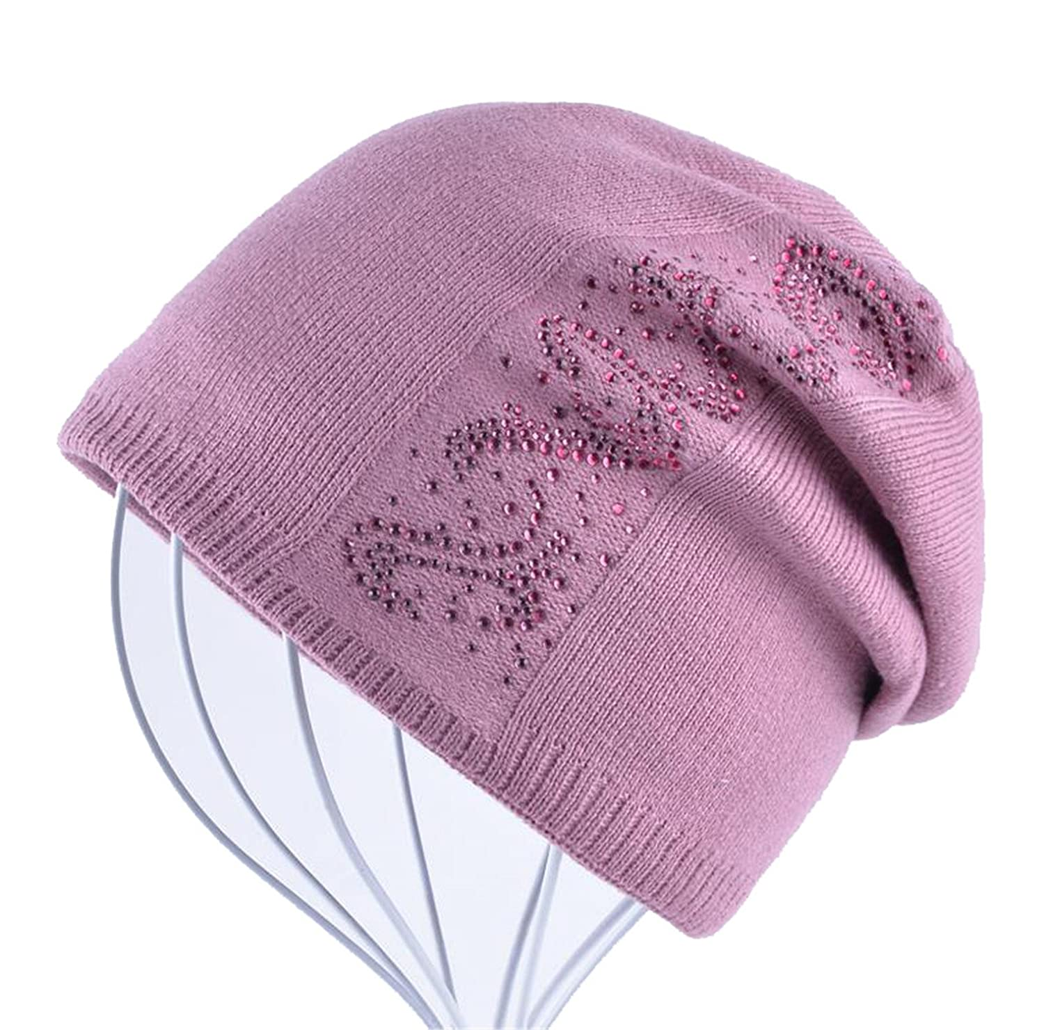 Susan1999 Rhinestone Solid Knitted Beanie Caps Women Beanies Bonnet hiver Bonnets Girls Hat
