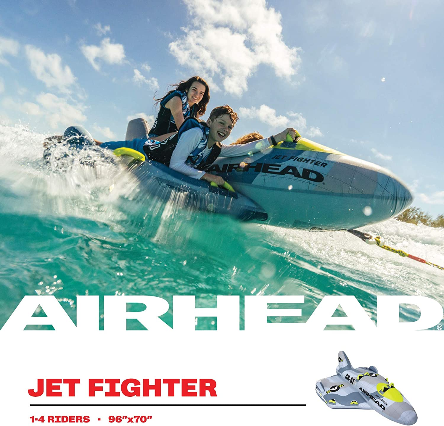 Airhead Jet Fighter 1-4 Rider Towable Tube for Boating