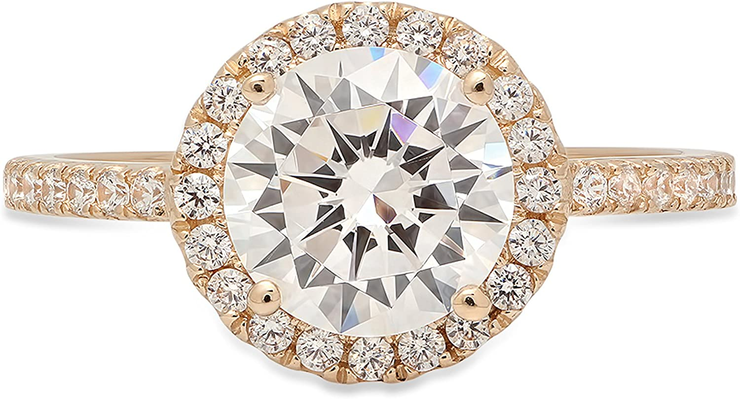 Promise Gift 1.50 Ct Round Cut Colorless Moissanite Solitaire Engagement Ring in 14KT Yellow Gold Ring For Women Claw Prong Ring