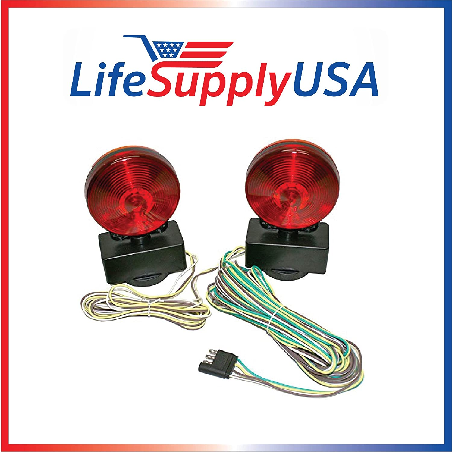 Easy Install 12 Volt Magnetic Towing Trailer Light Tail Wiring Brake Magnets Lights Automotive