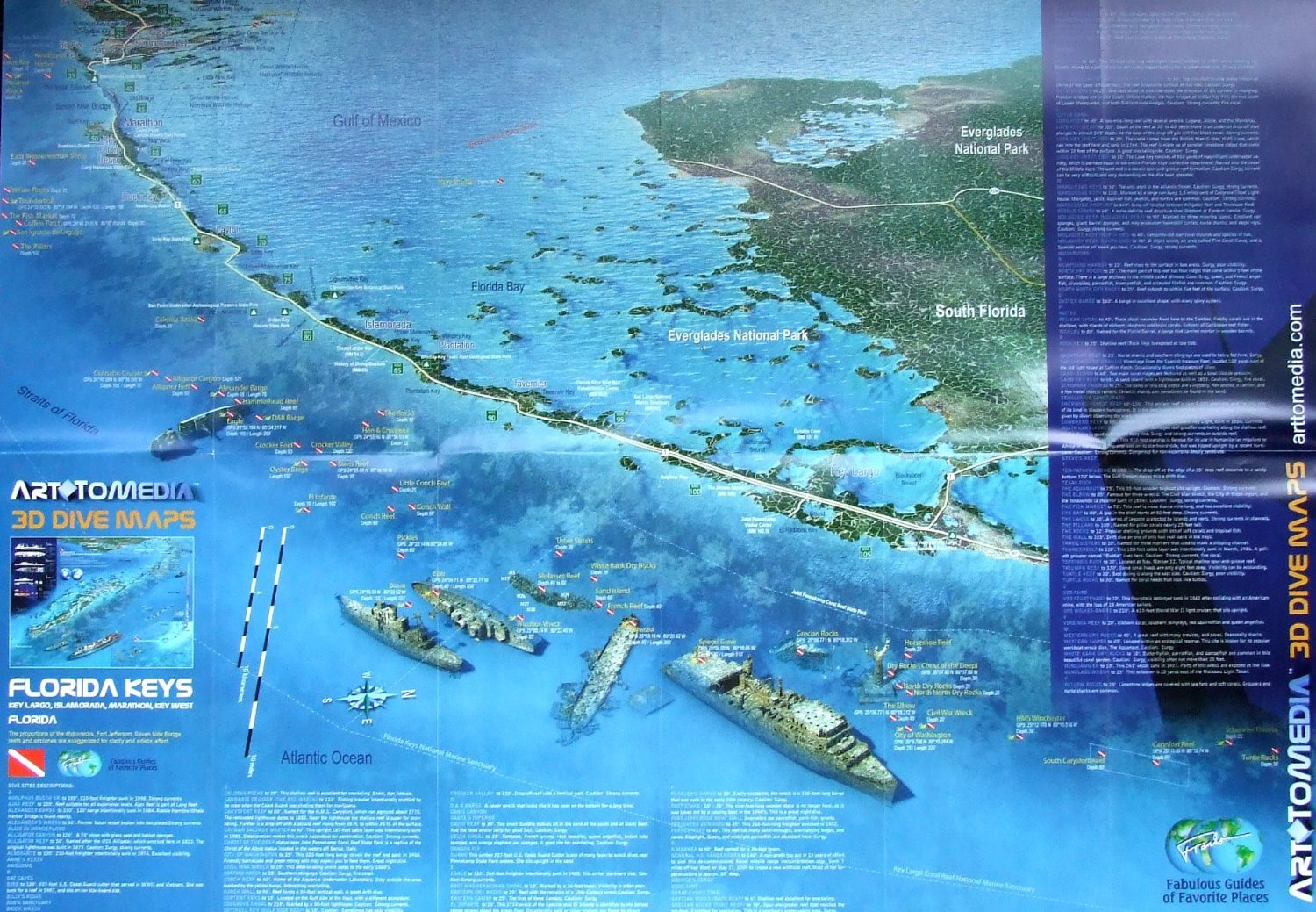 Map Florida Keys.Florida Keys 3d Dive Maps Waterproof Map Art To Media