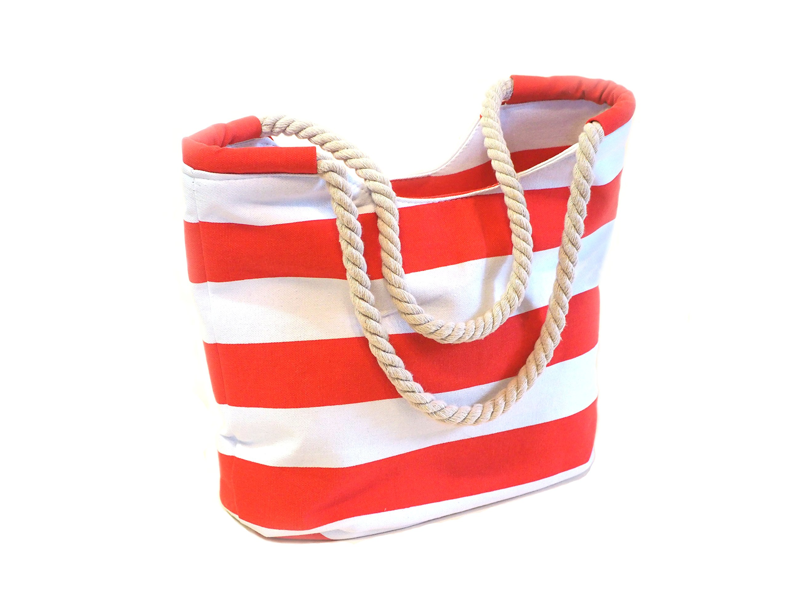 Canvas Beach Bag for Women, Vacation Tote With Cotton Rope Handles by Lalimi