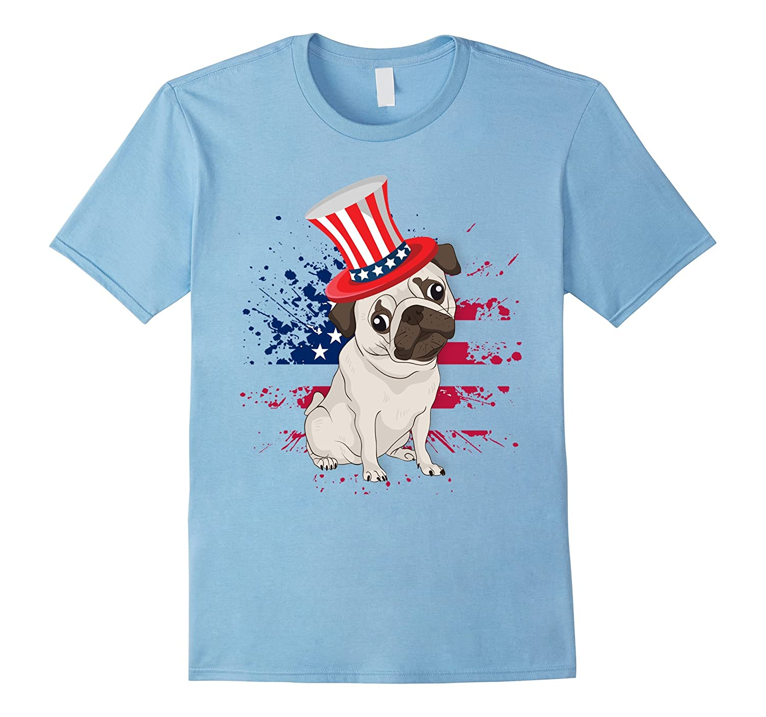 Fourth Of July Patriotic Pug T-Shirt Party Independence Day-Art
