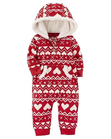 58a8ee5ec79 Carter Baby Girls One Piece Heart Print Fleece Jumpsuit 24 Months   Amazon.in  Baby
