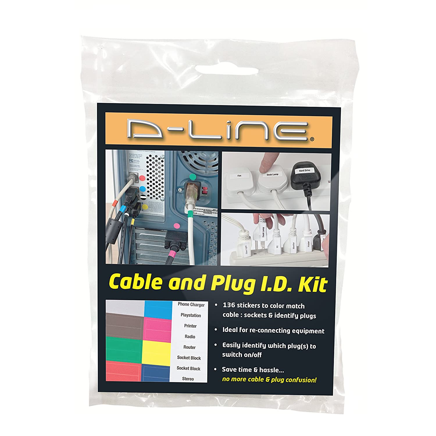 D Line Cable Plug Id Kit Peel Stick Management Labels Wiring A British Document Cables Cords Wires And Sockets In The Office Or Workplace Diy