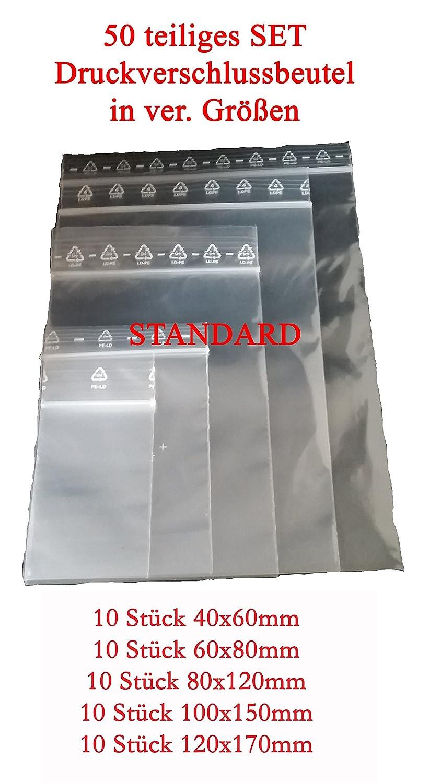 PE LD Ziplock Bag 50Piece Standard Set DIFFERENT SIZES (4x 6cm, 6x8cm, 8x12cm; 10x15cm; 17x12cm _ 10of each colour) Zip Bag, Quick Lerver Bag Quicksafe Bags, Plastic bag, zipper TÜ1TE ^ ^ 6x8cm