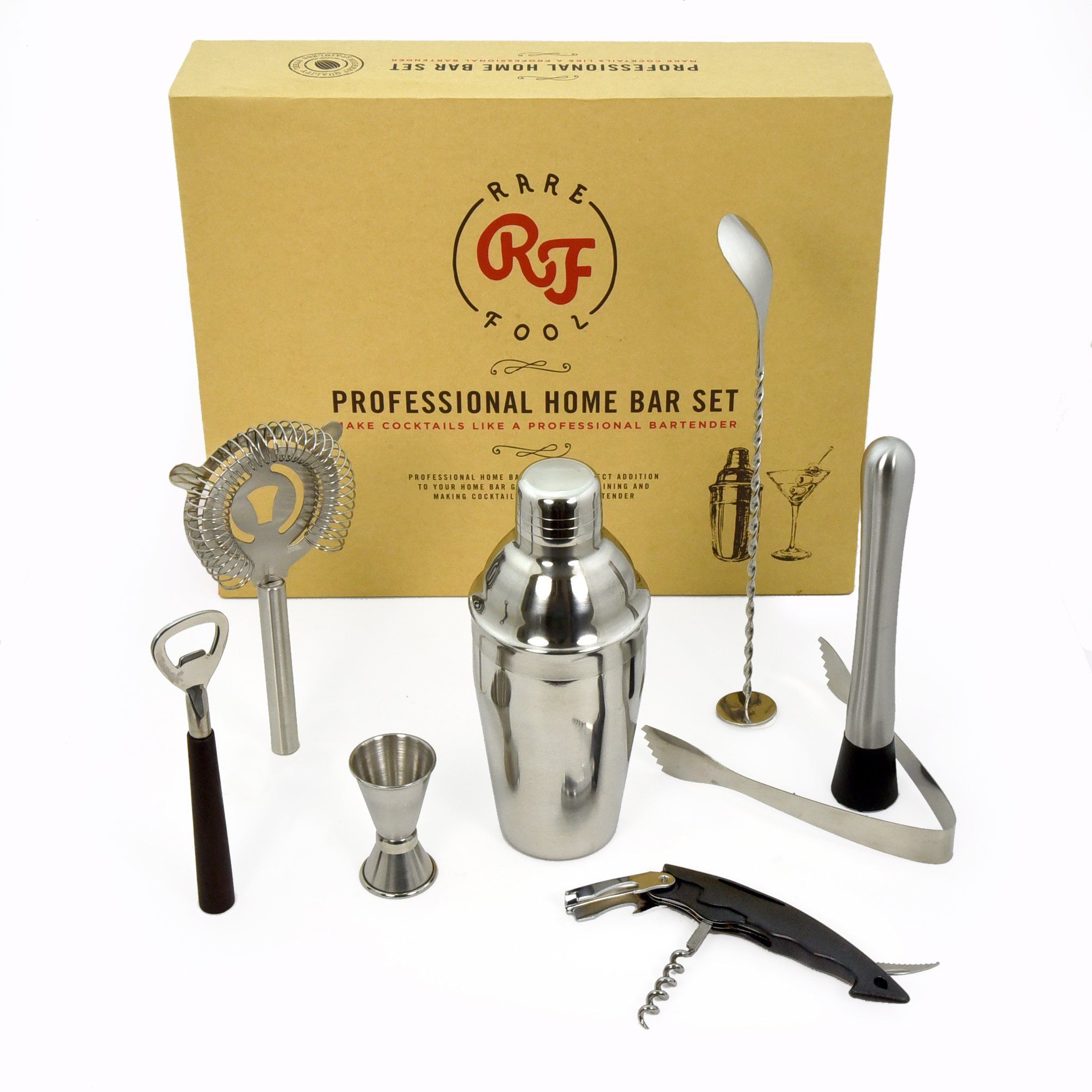 Cocktail Shaker Set Professional Kit 20oz Boston Cobbler Shaker in Gift Box with Recipe eBook, Strainer, Twisted Bar Spoon, Double Jigger, Muddler & Ice Tongs