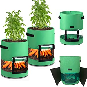 Potato Grow Bags 10 Gallon,Upgrade 2 Pack Non-Woven Fabric Pots Tomato Carrots Onions Planting Bags,Garden Fabric Pot,Vegetable Planting Grow Bags Strawberry Plants Growing Containers Outdoor (Green)