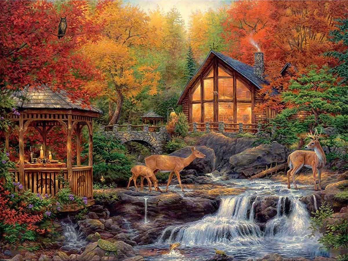 ZHENC 5D DIY Square Diamond Painting Drawing Crafts Forest Waterfall Wooden House Deer Embroidery Needlework Full Drill Decor Cross Stitch Kits