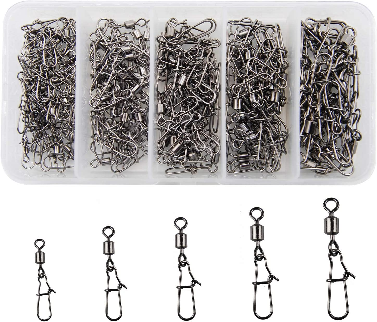 50pcs Rolling swivel with hanging snap fishing tackle Tackle connector D4L9
