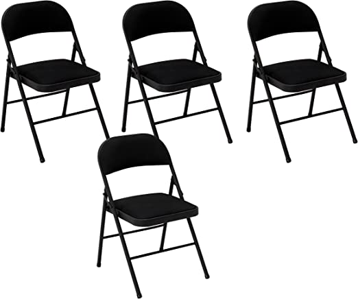 Black 4-Pack CoscoProducts COSCO 24 Vinyl Padded Folding Stool